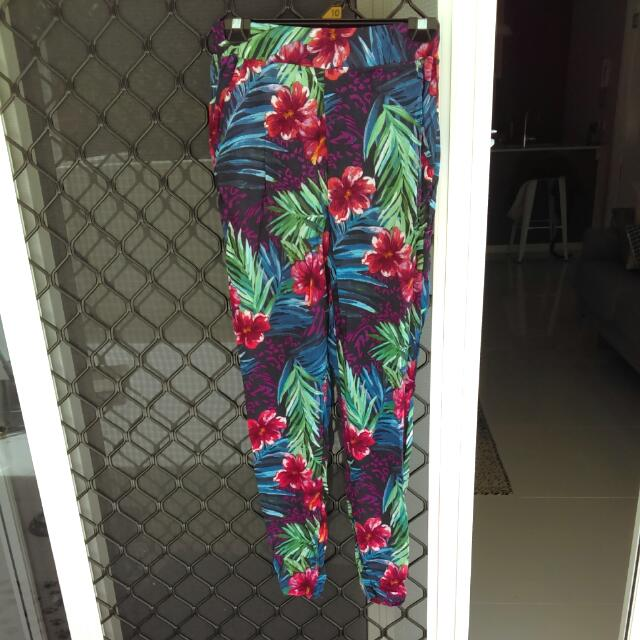 Bright Floral Print Trousers