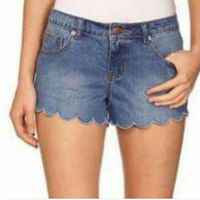 Cotton On Scallop Denim Shorts