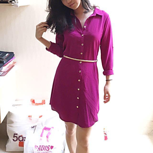 Forever21 Hnm Shirt Dress Kemeja Pink