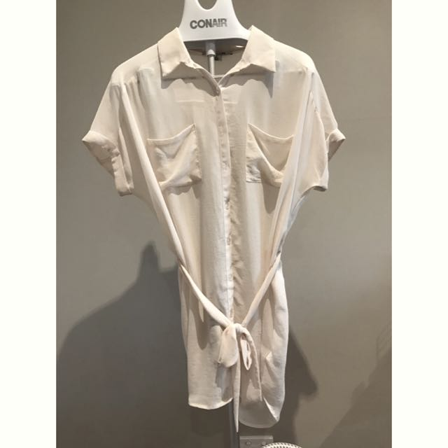 Forever 21, Cream Collared Long Shirt With Sheer Effect, Size M