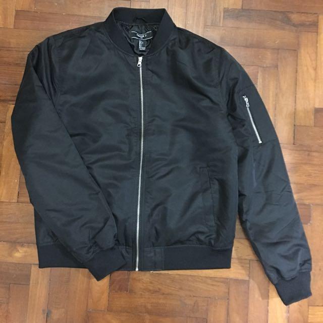 Forever 21 Mens Black Bomber Jacket