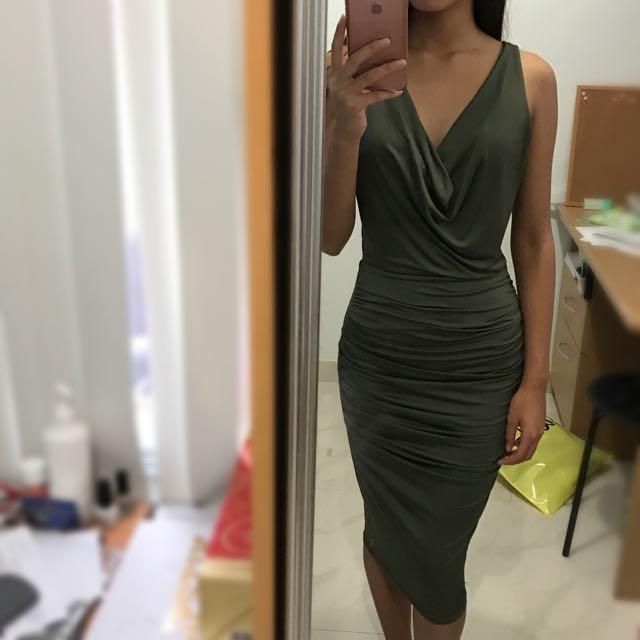 Fresh Soul Khaki Midi Dress