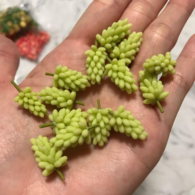 Handmade Miniature Fruits: Green Grapes & Purple Grapes @ $1.20 Each (clay)