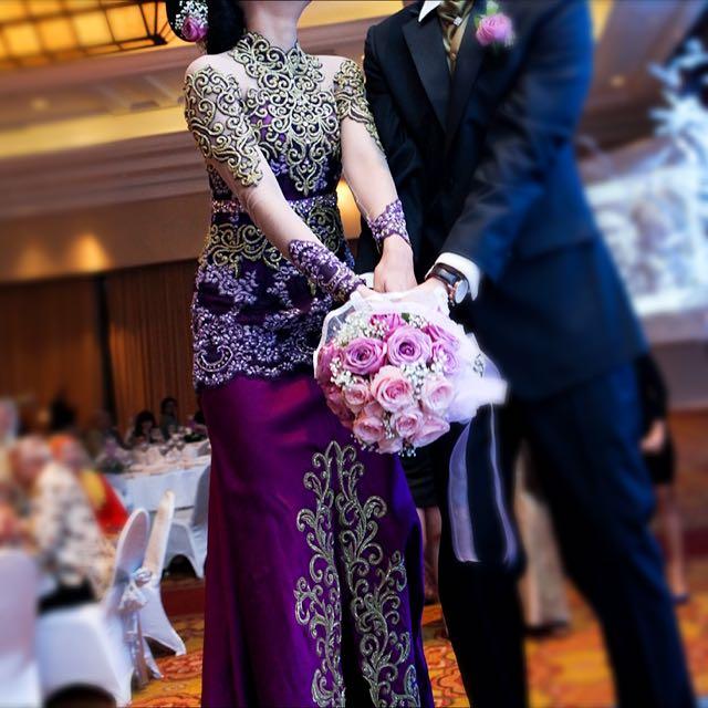 Kebaya Resepsi Pernikahan Gaun Kebaya Modern Panjang Gold