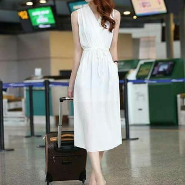 Korean Pearl Chiffon V-neck Plain Dress with Waisted String💕