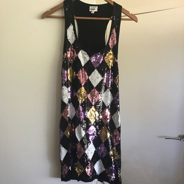 Mini Sequinned Dress Size 10