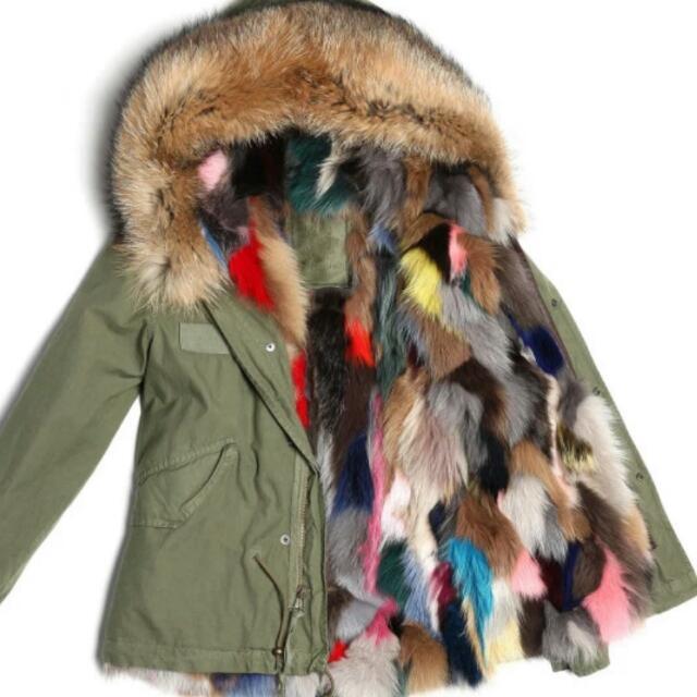 Multicoloured Fox Fur Parka