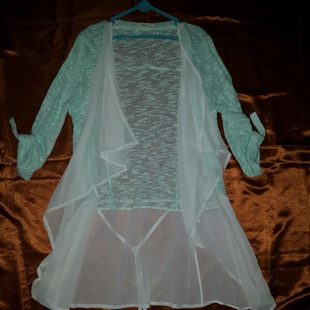 Mint Knitted Open Cardy