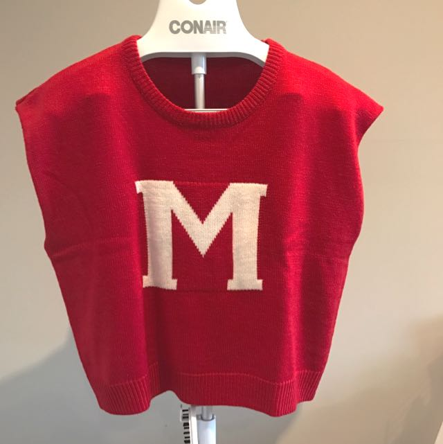 Red Crop Top With 'M', Size S