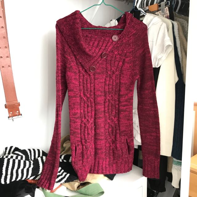 Red Sweater With 3 Buttons On Beck Line