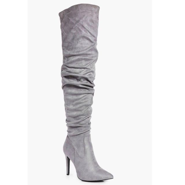 Rose Ruched Pointed Over Knee Boots - GREY