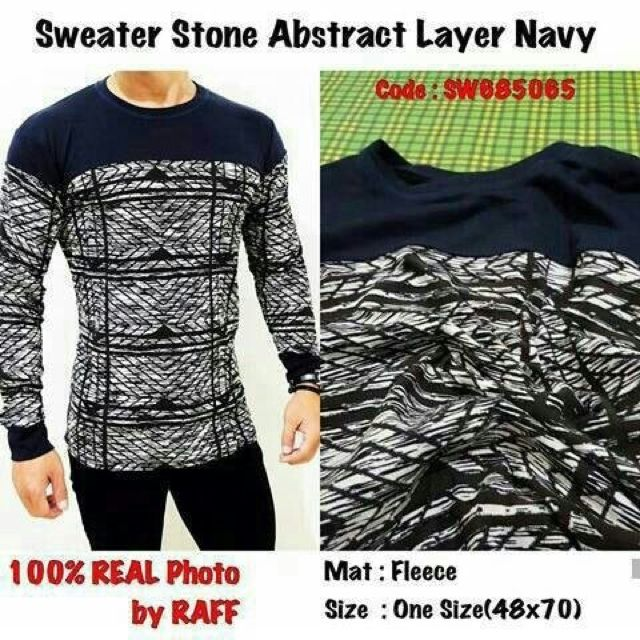Sweater Stone Abstract Layer Navy