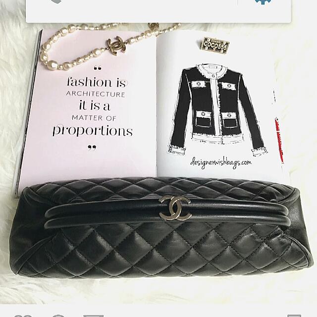 Timeless CHANEL Clutch Black Lambskin 100% Authentic