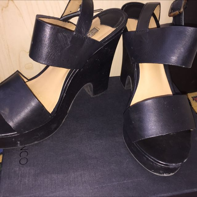 Tony Bianco Black Leather Platform Heels