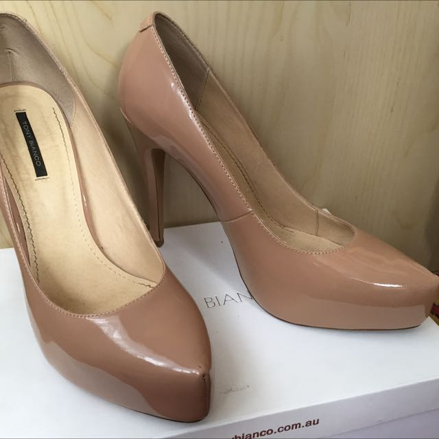 Tony Bianco Foxie Nude Patent Leather Heels