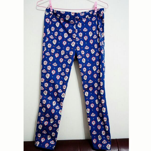 春裝✨日牌Uniqlo🌸民俗風 滿版花紋 寶藍色長褲 M號