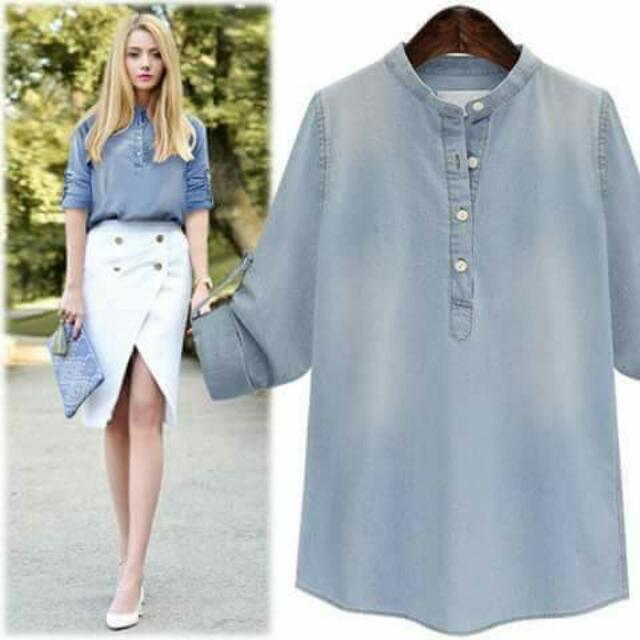 💕U.S. Style Denim Button-up Blouse💕