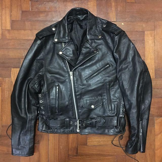 Xelement Black Genuine Leather Biker Jacket