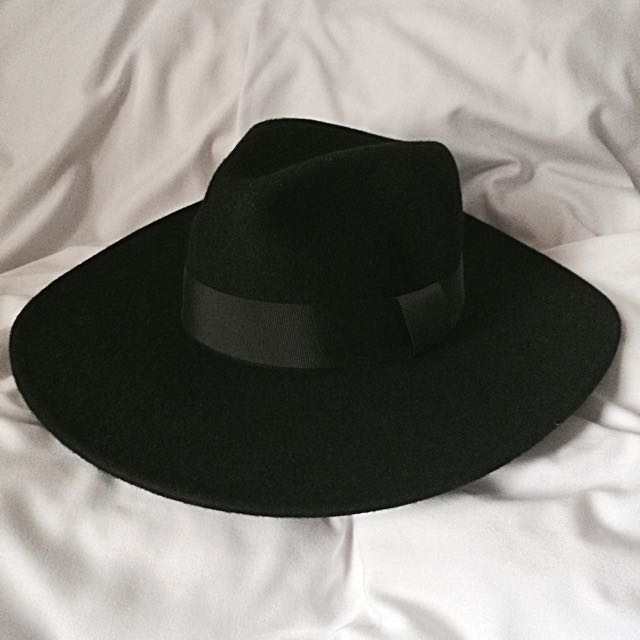 782576c96 Zara Black Fedora Hat (Large Brim), Men's Fashion, Men's Accessories ...