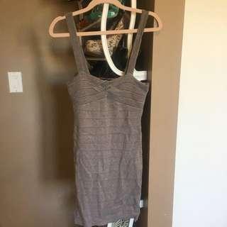 Dark Grey Sparkle Body Con Dress FromBEBE