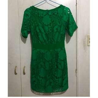 Moco Paris: Green Lace Dress