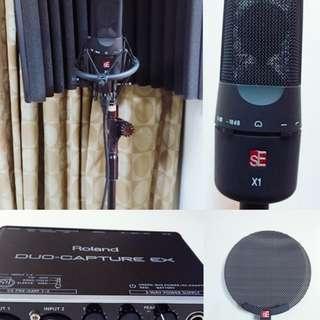 英國SE-X1 電容式錄音室麥克風組 合購 Roland 錄音介面
