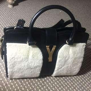 YSL mini Cabas Wool Leather Bag