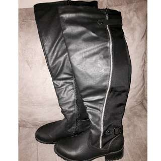 Black High Boots with Gold Zipper