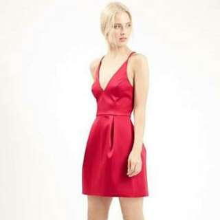 TOPSHOP Red Satin Plunge Dress