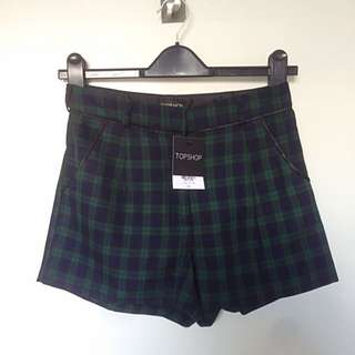 Topshop Green & Navy Plaid High Waisted Shorts