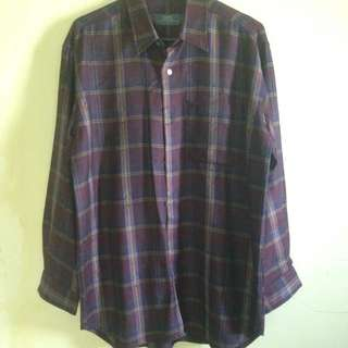 Kemeja Flanel Maroon Very Good Cond