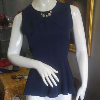 peplum top navy