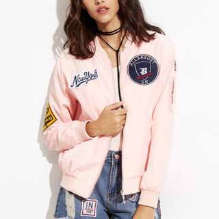 Romwe Purchased Pink Bomber Jacket w Pathes