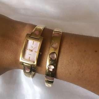 Gold & Pink Watch And Bracelet Set