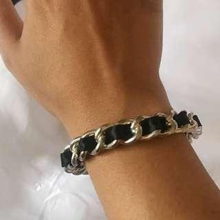Ribbon And Chain Black And Silver Bangle