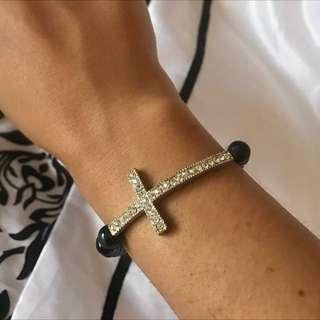 Black Bead And Diamontie Cross Bracelet