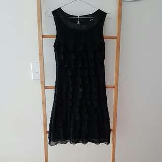 Black Tiered Lace Top Dress