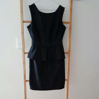 Workwear - Black Peplum Bow Dress