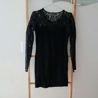 Black Lace Top Long Sleeve Dress