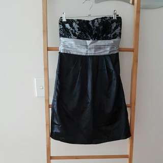 Strapless Black Satin Lace Top Ribbon Waist Dress