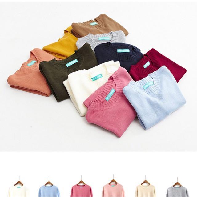 10色素面針織毛衣