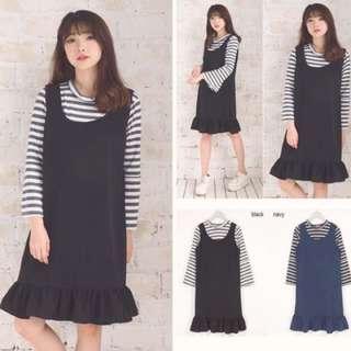 Ruffle Overall Set Dress (Black)