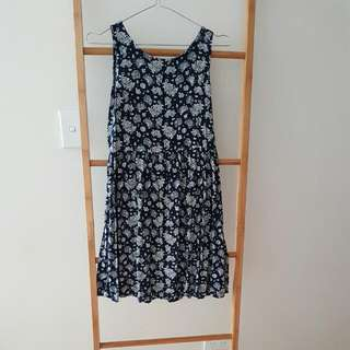 Blue And White Print Dress Button Back