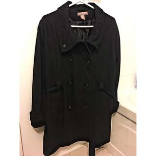 H&M+ Black Coat With Strap