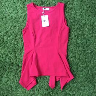 New Tempt Dressy Red Top Peplum