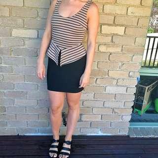 Stripe Dress Black Short