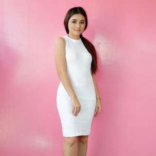 Sleeveless Midi Bodycon Dress White