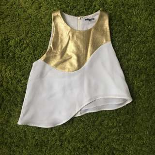Sheike Size 8 Metallic Gold White Top