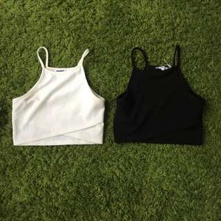 White And Black Crop Tops