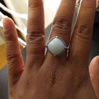 Pandora White Quartzite Silver Ring
